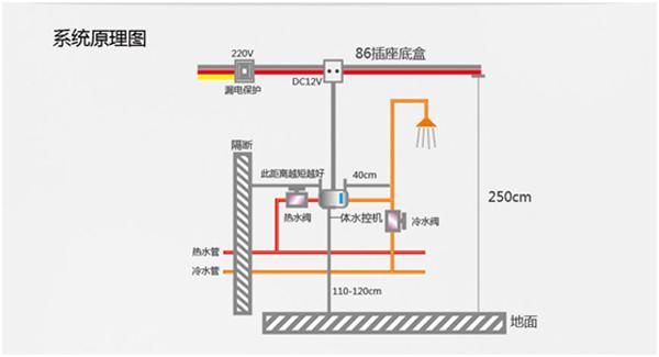 别墅家用空气能热水器系统原理图